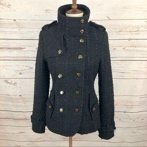 ModCloth Tweed Military Pea Coat Blazer